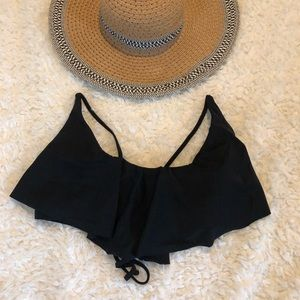 XL Juniors Black Bathing suit flounce top